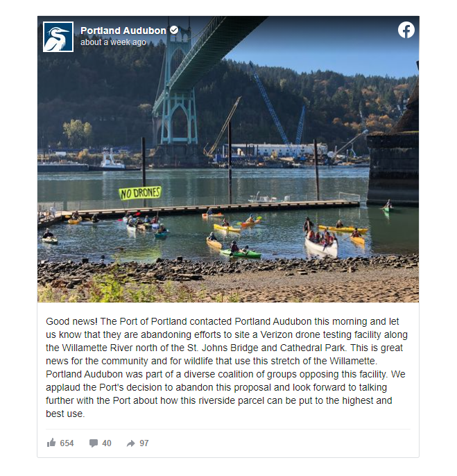 Facebook post from Portland Audubon announcing that a plan for a drone testing facility near the St. Johns bridge was being abandoned.