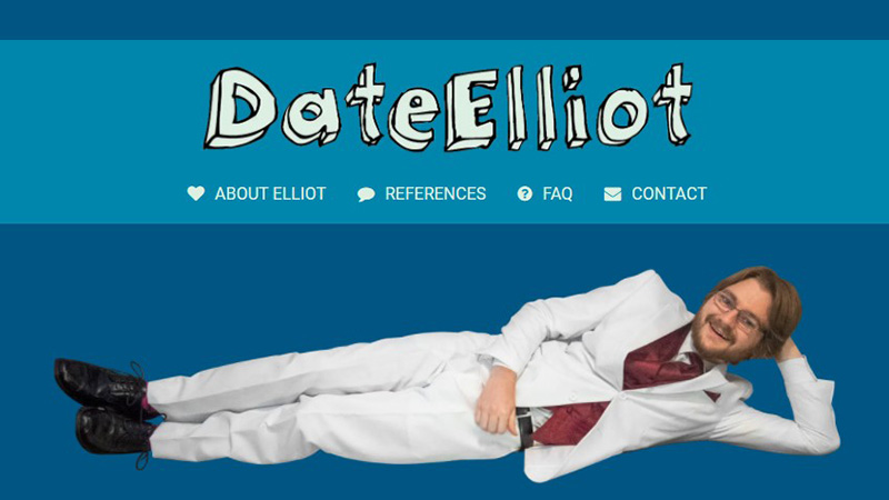 Screenshot of the website dateelliot.com that Elliot Frantz created to find a date during COVID.