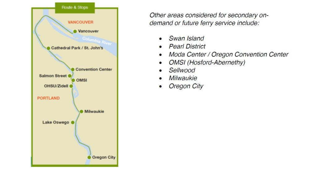 Screenshot of route and stops for the proposed passenger ferry between Vancouver and Oregon City.