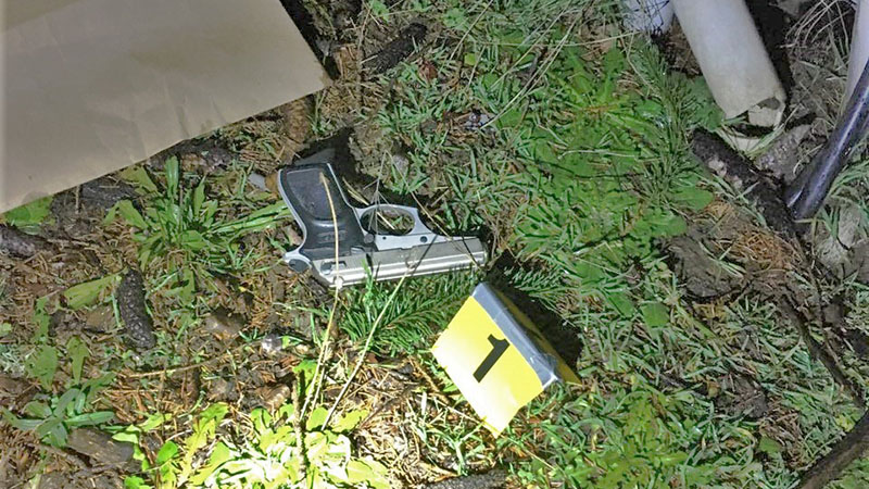 Picture of a handgun found at a shooting on Thursday. The shooting was one of 100 shooting incidents in Portland in January, almost double the number from a year earlier.