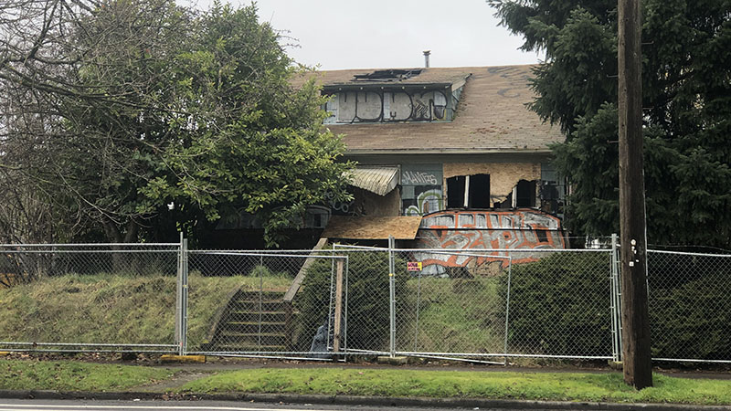 Picture of vacant home at 6183 Lombard Street that has been the ire of neighbors for years. Do you live near a zombie home?