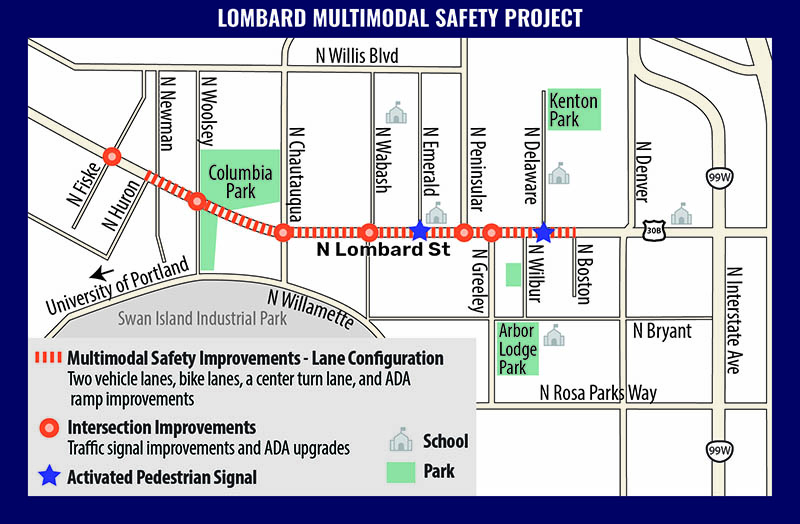 Diagram of Lombard Street Construction project that will reduce traffic lanes between North Fiske Avenue and North Boston Avenue.